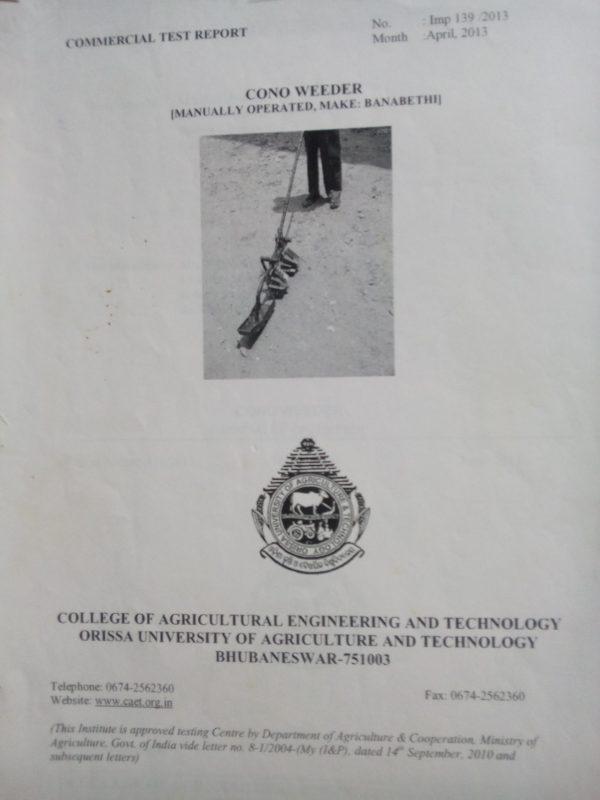 cono weeder mechine certificate-Orissa- Banabethi